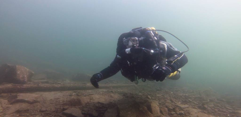 CCR Diver On Try Dive