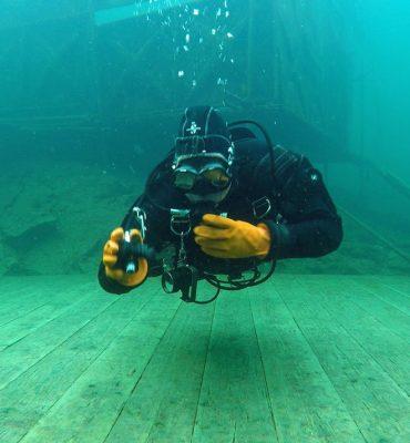 Side Mount Diver Performing Skills