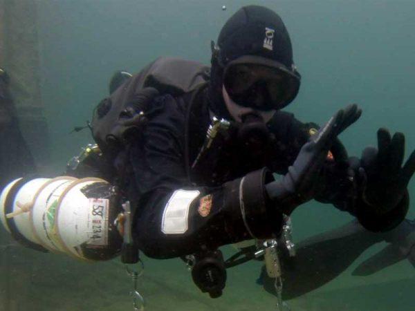 Side Mount Diver Giving OK Symbol